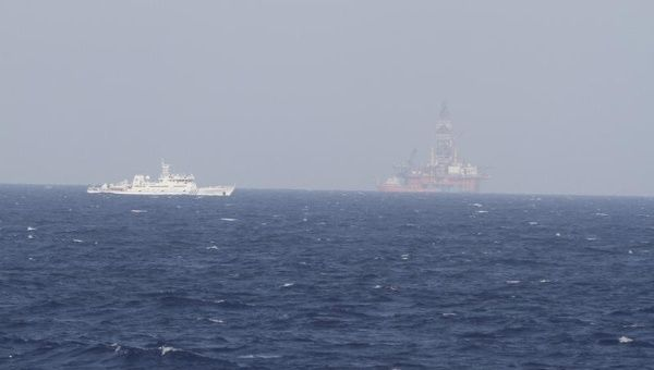 A ship of Chinese Coast Guard is seen near Chinese oil rig Haiyang Shi You 981 in the South China Sea, about 210 km (130 miles) off shore of Vietnam