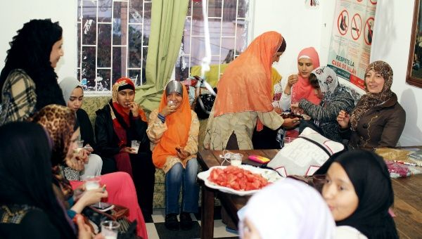 Women shares Iftar, the evening meal when Muslims end their fast at the time of sunset, after Maghrib in Bogota, Colombia.