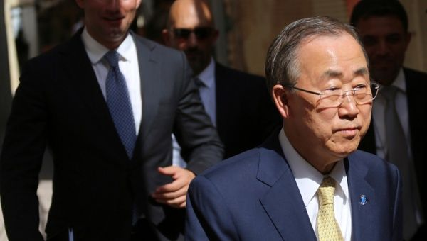 Ban Ki Moon, UN Secretary General walks after a meeting with Iraq