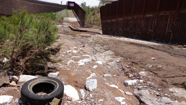 US-Mexico border fence knocked down by storm