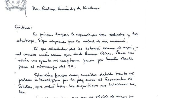 the letter from the pontiff to kirchner photo facebook