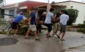 Residents carry a fallen tree on the street after Hurricane Odile hit La Paz, in Baja California September 15, 2014.  (Photo: Reuters/Alejandro Acuna)