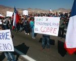 Striking workers picket the Escondida mine, the world's biggest copper mine, over
