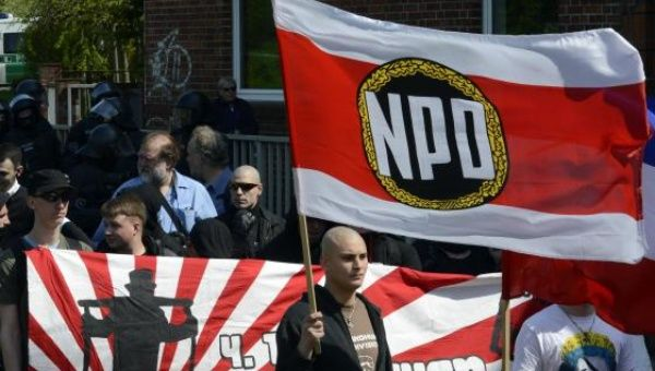 Supporters of the neo-Nazi National Democratic Party of Germany (NPD) march during May Day demonstrations.