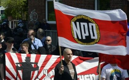 Supporters of the neo-Nazi National Democratic Party of Germany (NPD) march during May Day demonstrations. (Photo: Reuters)