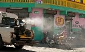 A truck fumigates against mosquitoes to control the spread of Chikungunya. (Photo: Reuters/Ricardo Rojas)