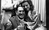 Former Argentinian President, Juan Domingo Peron, on his 77th birthday, with his wife Maria Estela Martinez in Madrid, October 8, 1972 (Photo: EFE)