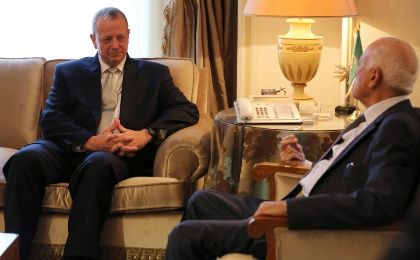Retired U.S. General John Allen, an envoy charged with building the coalition against the Islamic State, meets with Arab League Secretary-General Nabil al-Araby in Cairo, October 9, 2014.