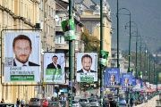 A picture taken on October 9, 2014 in the Bosnian capital Sarajevo shows campaign posters hanging in a street ahead of Sunday's general election (Photo: AFP)