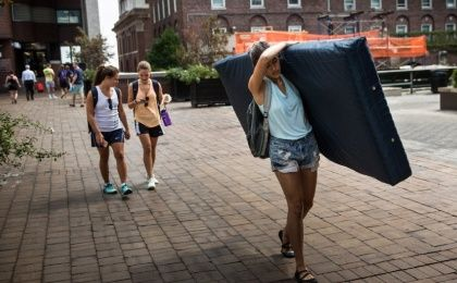 Emma Sulkowicz will carry her dorm mattress around campus as long as her rapist continues to attend the university (Photo: AFP)