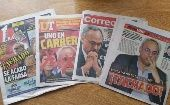 Peruvian newspapers showing the case of Manuel Burga (Photo: Rael Mora)