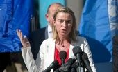 EU foreign affairs chief Federica Mogherini in Gaza calling for the creation of a Palestinian state. (Photo: AFP)