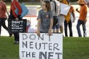 Howell attends a pro-net neutrality Internet activist rally in the neighborhood where U.S. President Obama attended a fundraiser in Los Angeles.
