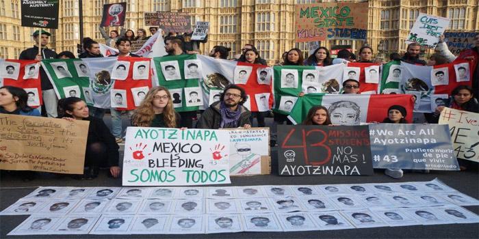 En el marco de la Marcha Nacional por la Educación Gratuita en esta ciudad británica, el grupo de manifestantes se unió a la protesta, en donde recibió el apoyo del movimiento británico. (Foto: London Mexico Solidarity Group)