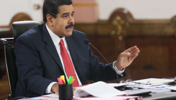 The president of Venezuela, Nicolas Maduro, gives a speech in the Miraflores Palace. (AVN)