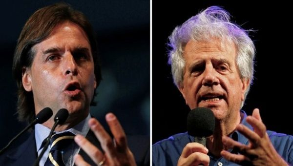 A combination photo shows Uruguayan National Party presidential candidate Luis Lacalle Pou in Montevideo September 15, 2014 and presidential candidate for the ruling Broad Front, Tabare Vazquez, on October 23, 2014. (Photo: Reuters)