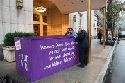 Workers placed a massive purple donation bin in front of the residence of Wal-mart heiress Alice Walton to protest low wages. (Photo: The Other 98%)