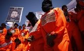 Protesters demanding the release of Guantanamo Bay detainees, which President Obama said he would do six years ago.