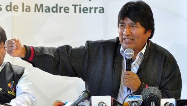 Evo Morales addressing the World People