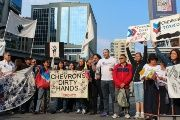 Members of the Anti Chevron Committee of Canada hold a rally in Toronto, Ontario, Canada.
