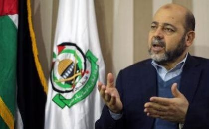 Deputy Hamas chief Moussa Abu Marzouk gestures during an interview.