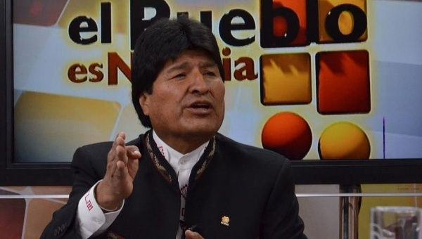 "Bolivian President Evo Morales denounces CIA involvement in his party on the TV show ""El Pueblo es Noticia,"" Jan. 4, 2015"
