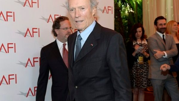 "Director Clint Eastwood from the film ""American Sniper"" poses at the AFI Awards 2014 honoring excellence in film and television in Beverly Hills, California on January 9, 2015."
