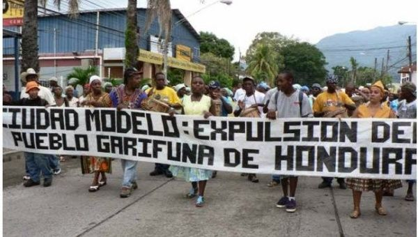 Garifuna march against displacement and privatization of their ancestral lands in Honduras in November, 2014