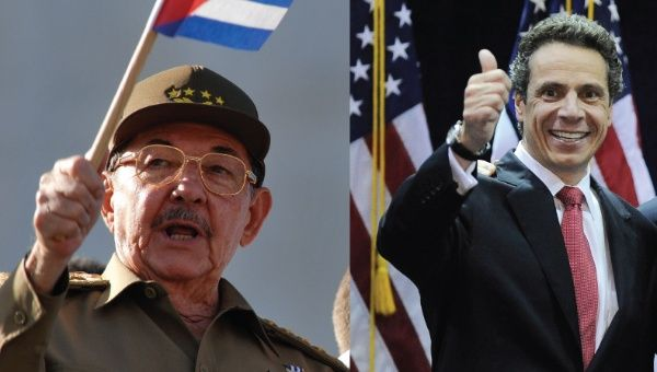 Cuban President Raul Castro (left) and New York Governor Andrew Cuomo (right)