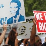 Protesters demonstrate against Obama