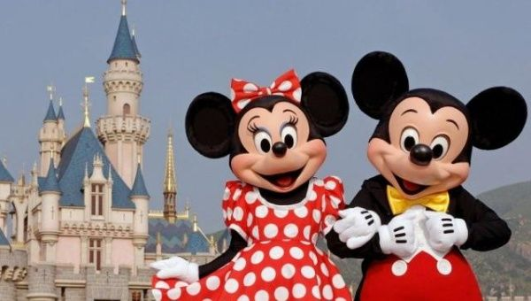 Disney characters Mickey Mouse and Minnie Mouse  at Disneyland in Anaheim, California