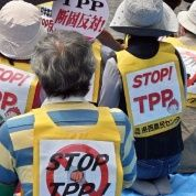 "Protestors wearing clothing reading ""Stop TPP participation"" attend an anti Trans-Pacific Partnership (TPP) free trade talks rally in Tokyo May 25, 2013."