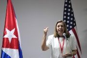 Josefina Vidal, director of U.S. affairs at the Cuban foreign ministry, speaks during a news conference in Havana, Jan. 22, 2015..