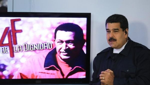 """Venezuelan President Maduro speaks during his show """"In contact with Maduro"""" on Feb. 3, 2015."""