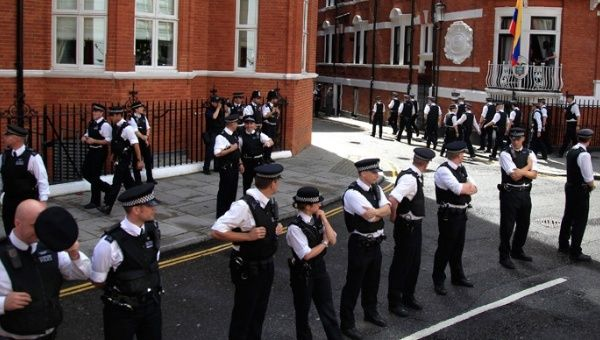 The Ecuadorean embassy is surrounded by a 24-hour police presence.