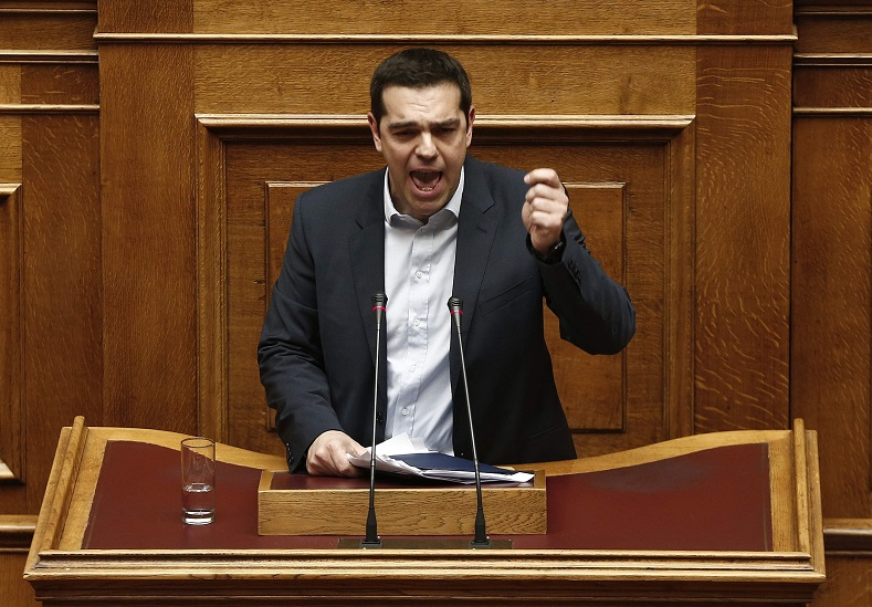 Greek Prime Minister Alexis Tsipras delivers his first major speech in parliament in Athens February 8, 2015.