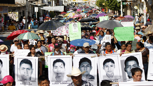 Protesters demand justice for the 43 disappeared Ayotzinapa students.