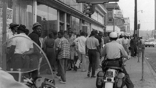 The streets of Birmingham, Alabama, on May 9, 1963 after violent demonstrations for civil rights.