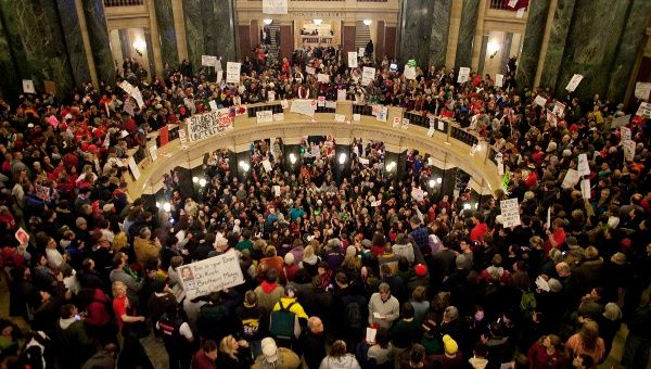 Protesters occupy the Wisconsin State Capitol in Madison, Wisconsin, late into the night March 9, 2011.