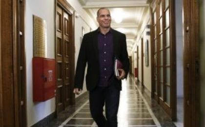 Syriza Finance Minister Yanis Varoufakis arrives at the parliament in Athens February 24, before the Eurozone approved the party's proposed debt measures.
