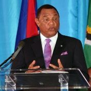Chair of Caricom and Prime Minister of The Bahamas Perry Christie addresses the opening ceremony of the 26th Intersessional Meeting of the regional bloc Feb. 26, 2015.