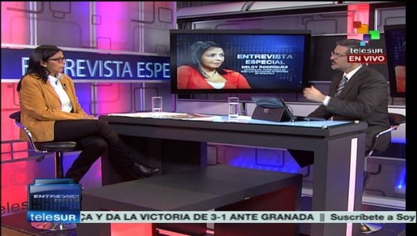 Venezuelan Foreign Minister, Delcy Rodriguez in an exlusive interview with teleSUR