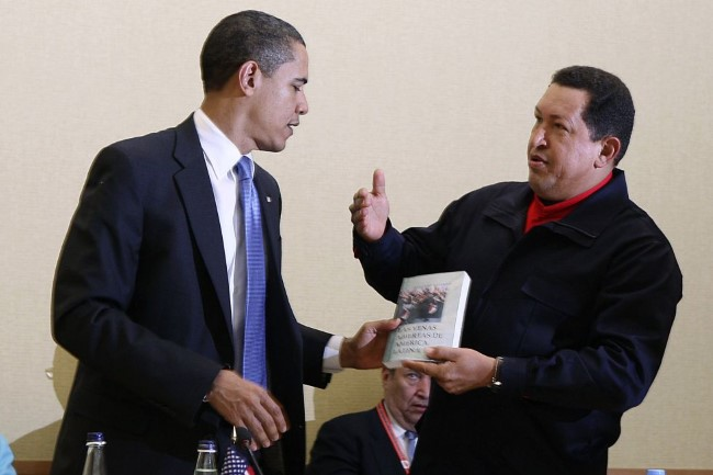 """President Chavez gives a copy of """"The Open Veins of Latin America"""" by Eduardo Galeano to U.S. President Barack Obama in 2009. The book is considered one of the foremost works on how imperialism has shaped the Latin American reality."""