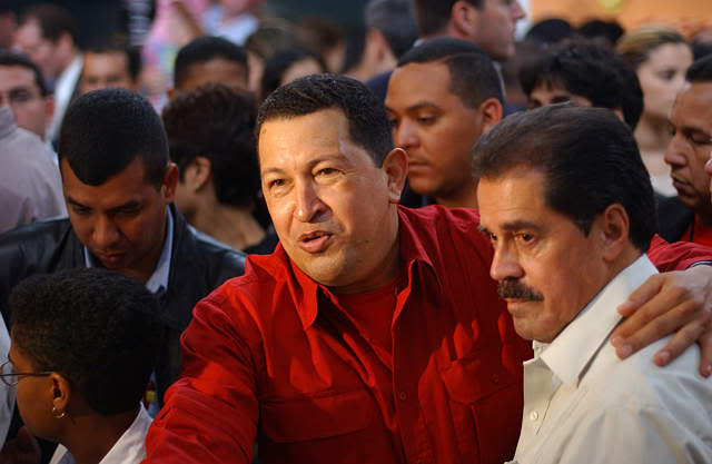 Hugo Chavez with U.S. Congressman Jose E. Serrano during a visit to the Bronx in New York in 2005. The visit resulted in a program offering subsidized heating oil to low-income U.S. residents from Venezuela through Citgo.