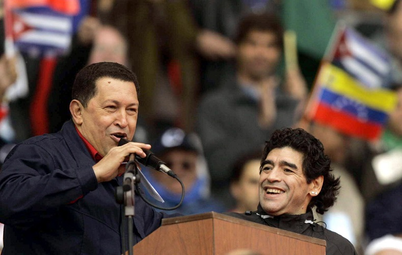 Chavez with soccer legend Diego Maradona at a mass rally in Argentina against the U.S.-led FTAA free trade agreement.