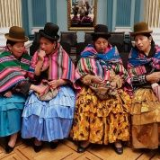Bolivian women attend a ceremony at the foreign ministry hall during All Saints