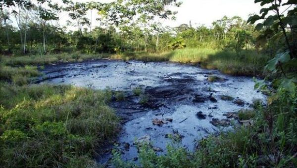 A waste pit filled with crude oil left by Texaco drilling operations years earlier lies in a jungle clearing near the Amazonian town of Sacha, Ecuador.