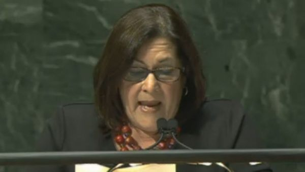 Maria Rubiales addressed a U.N. commission.