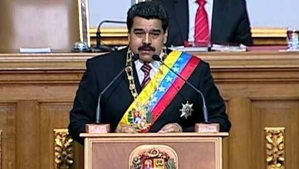 President Nicolas Maduro is pictured requesting the enabling law Tuesday.