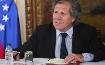 Uruguayan Foreign Minister Luis Almagro speaks during a working meeting with the foreign minister of Venezuela March 23, 2013.